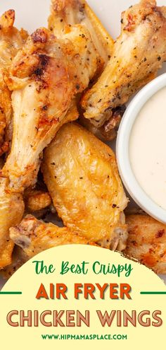 These Air Fryer Chicken Wings are the best crispy chicken with simple spices, quick to prep and are ready to serve in only 20 minutes!#airfryerchickenwings #airfryerchicken #airfryerrecipes #easyairfryerrecipes #easyrecipes #foodblog #foodblogger #hipmamasplace Cooking Chicken Wings, Chicken Wing Sauces, Air Fryer Chicken Wings, Crispy Chicken, Easy Chicken Recipes, Veggie Recipes, Healthy Recipes, Pork Recipes, Drink Recipes