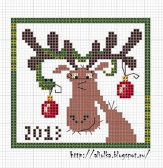 Reindeer with Christmas ornaments cross stitch chart