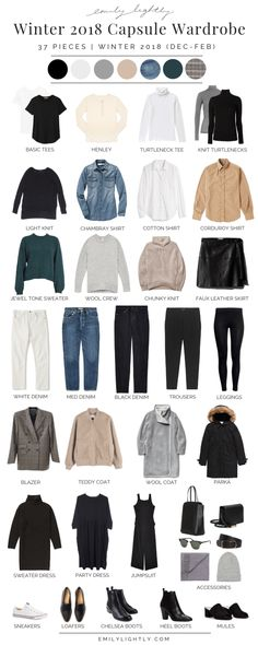 In this article I'm sharing my winter 2018 capsule wardrobe: 37 basic and seasonal pieces that I'll be wearing this winter from December to February. My Winter 2018 Capsule Wardrobe - My Winter 2018 Capsule Wardrobe - Emily Lightly Slow Fashion, Trendy Fashion, Winter Fashion, Fashion Fashion, Minimalist Wardrobe, Minimalist Fashion, Minimalist Style, Minimalist Winter Outfit, Winter Dresses