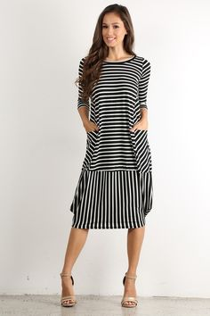 Bluebelle Maternity striped bodycon dress with wrap over front in black and white Dress Skirt, Dress Up, Bodycon Dress, Designer Kurtis, Designer Dresses, Robes Midi, Boho Fashion, Womens Fashion, Style Casual