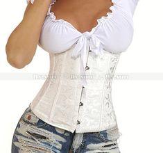 White Brocade Waist Cincher Underbust Corset Body Shaper Bustier Plus Size XS S … White Corset, Sexy Corset, Overbust Corset, Blue Corset, Floral Bustier, Bustier Top, Corset Outfit, Corset Shirt, Corset Dresses