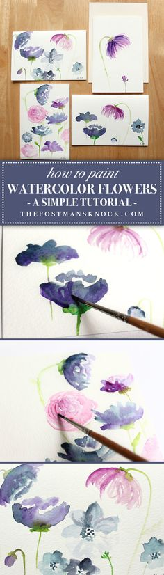 Learn how to paint beautiful watercolor flowers! #watercolor #watercolour #painting #watercolortutorial #arttutorial #thepostmansknock
