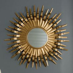 <strong>Mercury Row</strong> Ziek Sunburst Mirror Sun Mirror, Sunburst Mirror, Floor Mirror, Fireplace Mirror, Fireplace Mantels, Statement Wall, Dream Bedroom, All Modern, Frame