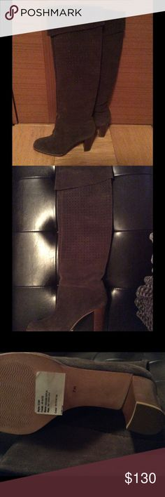 Brand new suede boots Brand new suede calfskin boots, Anna Klein, paid $299 + tax, selling for $130, size 7, no zipper Anna Klein Shoes Heeled Boots