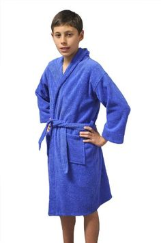Girls and Boys Kids Hooded Terry Turkish Robe Bathrobe 100\% Cotton Blue, Large, Age: 7-11