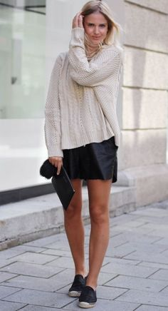 fall outfits womens fashion clothes style apparel clothing closet ideas.  white sweater dark skirt shoes casual