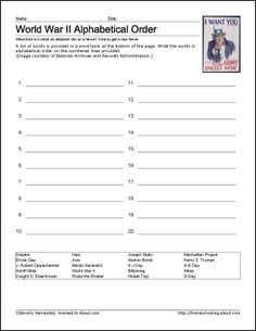 9 Worksheets That Will Teach Your Child About World War II: World War II Alphabet Activity
