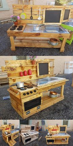lavish Pallet Wooden Project Ideas for a Tranquil Life pallet wood outdoor kitchen idea Outdoor Play Kitchen, Diy Mud Kitchen, Mud Kitchen For Kids, Kitchen Wood, Kitchen Decor, Pallet Seating, Wooden Pallets, Pallet Wood, Outdoor Pallet