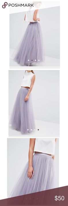 Lilac Tulle Maxi Skirt Fully lined with back zipper and single button closure. Tulle is 100% Nylon. Brand new and never worn with all tags attached. Size 12 is equivalent to a UK 16. ASOS Skirts Maxi