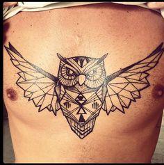 Geometric Tattoo Owl