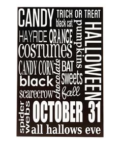 Black & White Halloween Subway Wood Plaque on #zulily