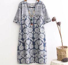 Retro handmade chinese buttons blue white print cotton linen o-neck short sleeve dress mrl girl 2016 summer