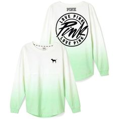 Victoria's Secret PINK Varsity Crew Dip Dye Gray Small at Amazon... ($70) ❤ liked on Polyvore featuring tops, crew top, victoria's secret, victoria secret tops, dip dye top and gray top
