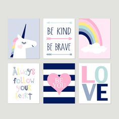 Unicorn Decor for Girls Room Decor, Unicorn Rainbow Art, Unicorn Decor for Girl Bedroom Decor, Set of 6 Unicorn Prints OR Unicorn Canvas Art Woodland Nursery Prints, Woodland Animal Nursery, Girl Room, Girls Bedroom, Bedroom Decor, Unicorn Decor, Canvas Art, Canvas Prints, Unicorn Print
