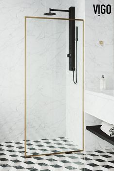 All Product Details Fixed glass panel creates an open, walk-in showerReversible left or right side ANSI and 16 CFR clear tempered glassVertical and bottom rai Modern Country Bathrooms, Contemporary Bathrooms, Industrial Bathroom Design, Bathroom Interior Design, Gold Shower, Glass Shower, Vigo Shower Doors, Shower Screen, Bathroom Collections