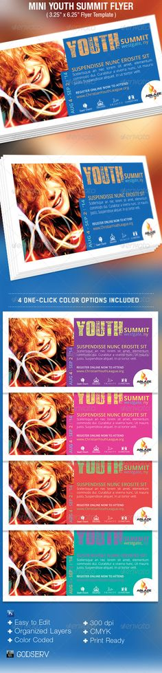 Mini Youth Summit Flyer Template is for the promotion of youth event, corporate events and more. It has a clean colorful design that will attract a young demographic. Make it part of your arsenal in your template database.Sold exclusively on graphicriver.net.