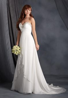 Elegant sweetheart chiffon gown featuring a draped empire waist bodice that has been elaborately decorated around the neckline with embroidery, crystal beading, rhinestones, pearls, and silver beads. The soft A-line skirt features a gathered split front skirt overlay, covered buttons, and a chapel length train.