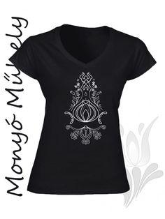Szűr mintás női póló - Fekete
