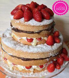 naked cake Bolos Naked Cake, Brides Cake, Fancy Desserts, Cupcake Cakes, Cupcakes, Vanilla Cake, Chocolate, Cake Decorating, Wedding Cakes
