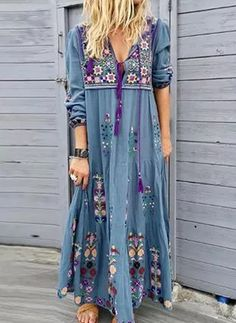 Material:Polyester Silhouette:Straight Dress Length:Ankle-Length Sleeve Length:Three-Quarter Sleeve Neckline:V-Neck Closure:Pullover Size Bust cm inch S 95 M 100 L 105 XL 110 115 120 Long Sleeve Maxi, Maxi Dress With Sleeves, V Neck Dress, Boho Floral Maxi Dress, Elegant Maxi Dress, Floral Dresses, Maxi Dresses, 1950s Dresses, Fashion Dresses