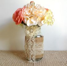 2+burlap+and+lace+covered+mason+jar+vases++wedding+by+PinKyJubb,+$32.00