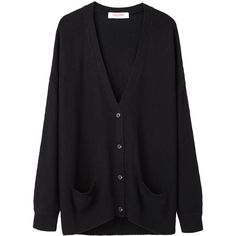 Organic by John Patrick Oversized Cardigan (€165) ❤ liked on Polyvore featuring tops, cardigans, outerwear, sweaters, v-neck tops, low v neck tops, slim fit cardigan, black 3 4 sleeve cardigan and black v neck cardigan