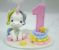 a unicorn topper How To Make A Unicorn Cake, Diy Unicorn Cake, Unicorn Cake Topper, Fondant Numbers, Fondant Letters, Fondant Toppers, Fondant Cakes, Cupcake Cakes, Unicorn Birthday Parties