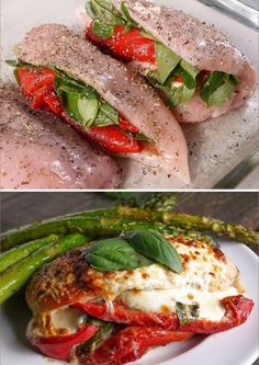 Roasted Red Pepper, Mozzarella and Basil Stuffed Chicken -- Do you want to get t., Red Pepper, Mozzarella and Basil Stuffed Chicken -- Do you want to get the real jam cooking meat dishes? Prepare chicken filled with roasted r. I Love Food, Good Food, Yummy Food, Delicious Desserts, Clean Eating, Healthy Eating, Dinner Healthy, Cooking Recipes, Healthy Recipes
