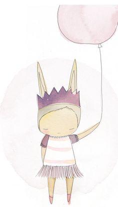 Ballerina Art Print - Bunny Rabbit  Pastel Pink Purple Balloon Girl - Art Print Watercolor