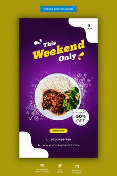 Food menu and restaurant instagram story... | Premium Psd #Freepik #psd #banner #food #menu #sale Food Graphic Design, Food Menu Design, Food Poster Design, Flyer Design, Banner Design Inspiration, Web Banner Design, Web Banners, Design Web, Social Media Poster