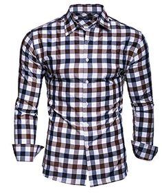 Kayhan chemise pour homme Slim Fit - Marron - X-Large Mens Linen Outfits, Stylish Mens Outfits, Gents Jeans, Style Costume Homme, Chemise Slim Fit, Blue Suit Men, Golf T Shirts, Mens Fashion Suits, Men Style Tips