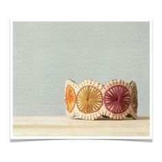 Wool Felt Bracelet Wristband Cuff // Hand Embroidered // Autumn // LoftFullOfGoodies