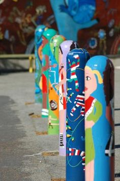 Bollards painted by children