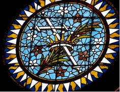 Stained glass church window.