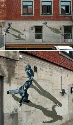 3D Street Art. Walking on Walls. Exceptionally clever Wall Mural. Artist Unknown. #streetart #graffiti #3D