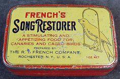 Vintage French's Song Restorer Bird Food Tin