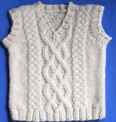 Little Aran Vest, knitting pattern.  Sizes for newborn through 24 months.