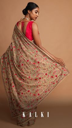 The beauty of these classics is they remain evergreen and never go out of vogue. Seeing the popularity of the Kashida embroidered sarees, these are a definite must-have in your wardrobe. If you are someone who prefers intricate yet elegant sarees, then these are heaven-sent! Chiffon Saree, Georgette Sarees, Kashmiri Suits, Embroidery Saree, Indian Textiles, Saree Models, Elegant Saree, Saree Look, Evergreen