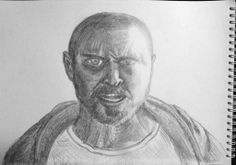 "Breaking Bad... Guess the episode! :) I know, he's skewed a bit and the forehead is small, eyes are big... But it's my 1st serious ""real drawing"". #breakingbad, #jessie, #jpinkman, #jessiepinkman, #punk, #film, #series, #bb, #sketch, #pencil"