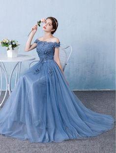 Beautiful Prom Dresses A-line Off-the-shoulder Long Lace Prom Dress/Evening Dress JKL122