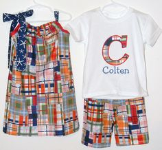 Matching brother/sister outfits in coordinating madras patchwork print with applique initial and pillowcase dress. $49.50, via Etsy.