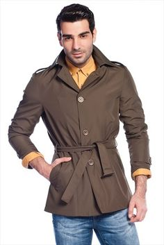 Sateen · Erkek Tekstil - Haki Trenchcoat 123-3365 %50 indirimle 59,99TL ile Trendyol da
