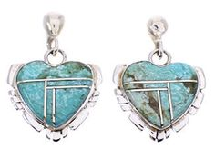 Turquoise Inlay Heart Southwest Sterling Silver Earrings MW69471 http://www.silvertribe.com