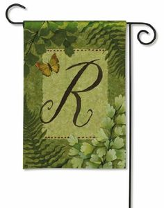 """Nature's Script Monogram R Garden Flag by BreezeArt. $7.99. 100% All Weather Polyester. 12.5""""x18"""". Fade & Mildew Resistant. Made with SolarSilk Polyester. Premium Standard Flag. Bursting with family pride, this decorative monogram garden flag is perfect for your landscape decor. Ablazed with a loud and proud letter """"R"""", this monogram garden flag features natural elements in all shades of green. Let this decorative garden flag welcome everyone to the 'R' homestead. What better wa..."""