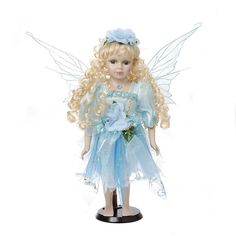 Damara Girl's 16¡° Porcelain Doll Cute Pretty Flower Fairy Blue Dress Design