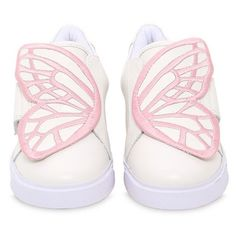Sophia Webster Kids-girls Bibi Wing Embroidered Leather Sneakers (€175) ❤ liked on Polyvore featuring white