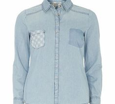 Dorothy Perkins Womens Gingham Pocket Denim Shirt- Blue DP12301841 Lola Skye: Pale blue denim shirt with gingham pocket detail and button front. Length Approx 64cm 100% Cotton. Machine washable. http://www.comparestoreprices.co.uk/ladies-fashion-tops/dorothy-perkins-womens-gingham-pocket-denim-shirt-blue-dp12301841.asp
