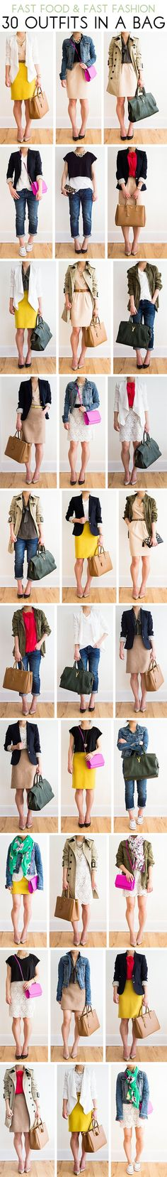 30 Outfits in a Bag: Boyfriend Jeans, pencil skirt, trench, army jacket