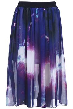 #Romwe Bright Galaxy Pleated Skirt