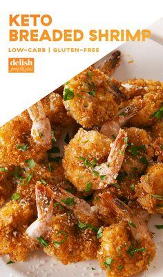 Breaded Shrimp might even be better than popcorn shrimp. Get the recipe at .Keto Breaded Shrimp might even be better than popcorn shrimp. Get the recipe at . Ketogenic Recipes, Low Carb Recipes, Diet Recipes, Cooking Recipes, Healthy Recipes, Pescatarian Recipes, Dessert Recipes, Cooking Cake, Keto Desserts